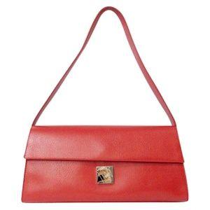Pebbled Leather Shoulder Bag in Red